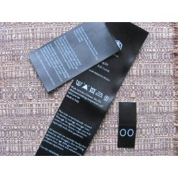 Black satin labels