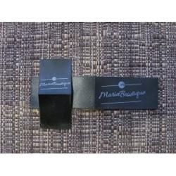 Black satin foldable labels