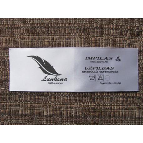 Satininės etiketės 15x13mm su 1 spalvos spauda