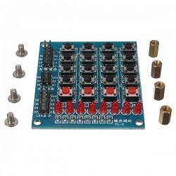 4x4 mygtukų matrica + 4 mygtukai + 8 LED modulis