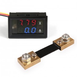 Skaitmeninis DC voltmetras 0-100V ir ampermetras 0-100A + šuntas