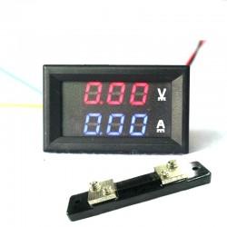 Skaitmeninis DC voltmetras 0-100V ir ampermetras 0-50A + šuntas