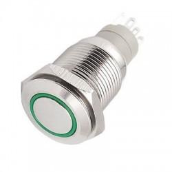 Metalinis fiksuojantis NO+NC jungiklis su 12V LED pašvietimu (žalias)