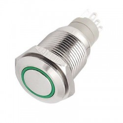 Metalinis fiksuojantis NO+NC jungiklis su 12V LED (žalias)