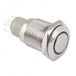 Metalinis fiksuojantis NO+NC jungiklis su 12V LED (baltas)