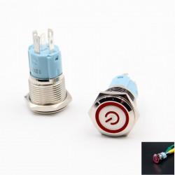 Metalinis nefiksuojantis NO+NC mygtukas su 12V LED (raudonas)