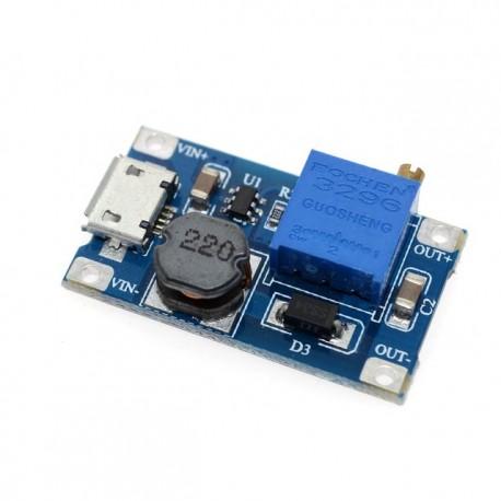 MT3608 Step-up impulsinis maitinimo šaltinis iki 28V iki 2A su microUSB įėjimo jungtimi