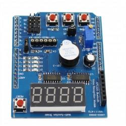 Multifunkcinė jutiklių plokštė LM35, LED, BUZZER, 7-segm. indikatorius, mygtukai, POT, servo jungtys,