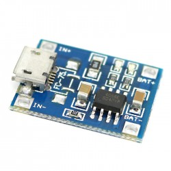 Ličio baterijų krovimo modulis su microUSB įėjimo jungtimi 1s 1A
