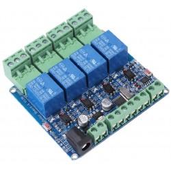 RS485 4 kanalų 12V DC relių Modbus RTU modulis su STM8S103
