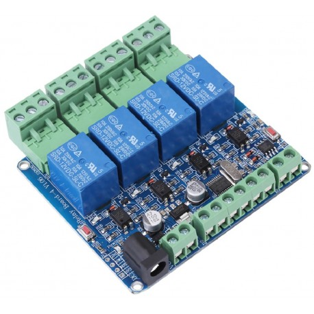RS485 4 kanalų 12V DC relių Modbus RTU modulis