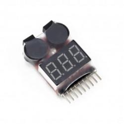 1S-8S Ličio baterijų celių įtampų matuoklis su aliarmo funkcija
