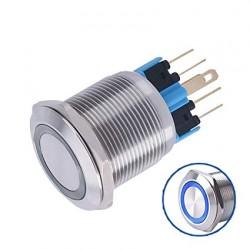 Metalinis fiksuojantis NO+NC jungiklis su 12-24V LED (mėlynas)