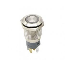 Metalinis nefiksuojantis NO+NC jungiklis su 3-6V LED pašvietimu (baltas)