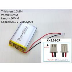 2000mAh 1S 3,7V 1C LiPo akumuliatorių baterija su apsaugos moduliu 103450