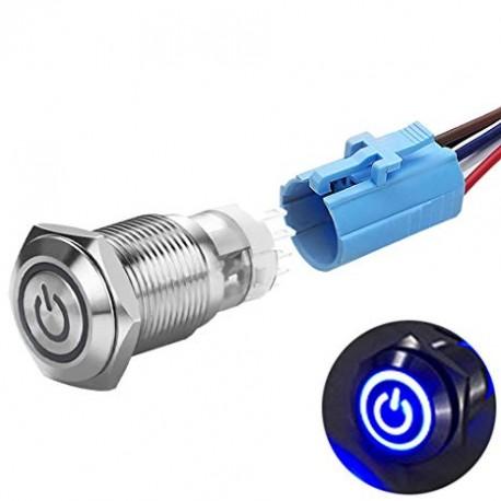 Metalinis fiksuojantis NO+NC jungiklis su12-24V LED pašvietimu (mėlynas)