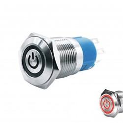 Metalinis nefiksuojantis NO+NC jungiklis su 5-24V LED pašvietimu (raudonas)