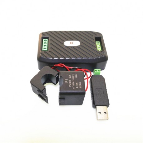 RS485 ir USB elektros energijos skaitiklis su perskiriamu srovės (iki 100A) jutikliu
