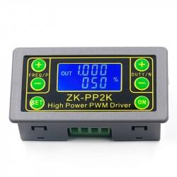 Dviejų funkcijų PWM signalo generatorius ZK-PP2K (3,3-30V 1Hz-150kHz su LCD, UART, korpusu ir 8A tranzistoriniu išėjimu)