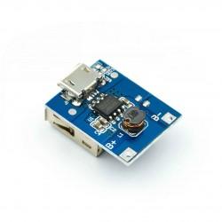 PowerBank modulis (step-up iš 3,7-4,2V į 5V) iki 1A (su ličio baterijos apsauga)
