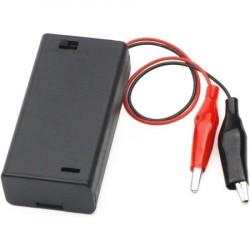 2x AA baterijų laikiklis su jungikliu ir gnybtais