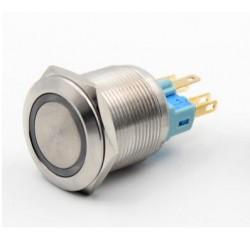 Metalinis nefiksuojantis 22mm NO+NC jungiklis su 12-24V LED pašvietimu (mėlynas)