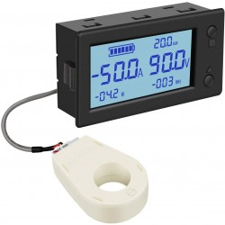 Baterijos įkrovos stebėjimo ir elektros energijos skaitiklis (iki 300V) su DC srovės (iki 100A) matavimo kilpa